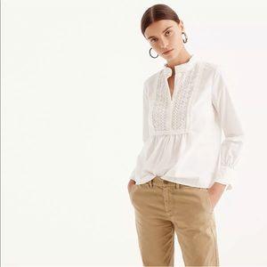 J Crew White Lace Bib Popover Shirt Size 6